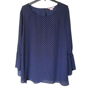 In Every Story   Polkadot Flowy Bell Sleeve Blouse